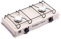 Mini Fogão 2 Queimadores Em Alúminio Bege Gás GLP Camper Luxo Suzan -