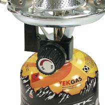 Mini Fogareiro Portátil Inox Camping Guepardo com 6 Cartuchos de Gás 230g TEKGAS -
