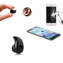 Mini Fone de Ouvido Bluetooth Preto e Película de Vidro Temperado Blindada para Iphone 6 6S 7 8 - Ukimix