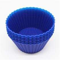 Mini forma para cupcake de silicone com 6 peças azul - homecook -