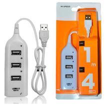 Mini HUB USB 4 Portas 2.0 Para Computador Notebook Branco - Hi-Speed