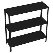 Mini - kit estante dupla-flex 0,91 x 0,30 x 20/26 com reforço 3 prateleiras - preta - amapa - Ultra Móveis