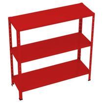 Mini - kit estante dupla-flex 0,91 x 0,30 x 20/26 com reforço 3 prateleiras - vermelha - amapa - Ultra Móveis