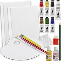 Mini Kit Pintura A Óleo C/ 2x Tela + 7 Tintas + 6 Pincéis + Paleta - Tinta Óleo - Renascença