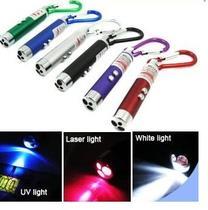 Mini Lanterna Chaveiro 3 Funções  LANTERNA - LASER POINT e UV, Identificador de Nota falsa - Yasin
