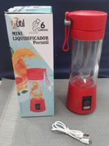 Mini liquidificador portátil  6 lãminas-usb-vermelho 380ml - 123Util
