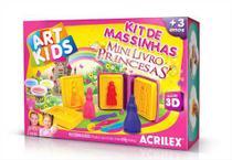 Mini Livro 3D Princesas com Massinha, Moldes e Cortadores 450g Acrilex -