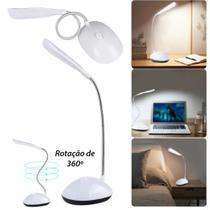 Mini Luminária LED Flexível Portátil a Pilha Luz Branca Mesa Leitura Notebook CORES - Und