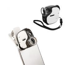 Mini Microscópio Lupa Conta-fio 55x Luz Uv Com Clip Para Celular TH7004D - Jiaxi