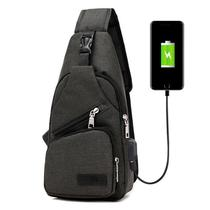 Mini Mochila Bolsa Alça Única Cross Body USB Cadernos Tablet Smartphone Vários Bolsos Preto - Mundo thata