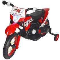 Mini Moto Cross 6V Elétrica Recarregável Infantil Triciclo Criança Brinqway BW-083VM Vermelho Bivolt -