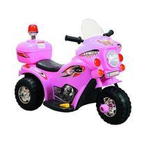 Mini Moto Eletrica Infantil Policia 6V 18W Rosa BW002R Importway -