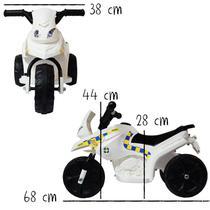 Mini Moto Elétrica Triciclo Criança Infantil Bateria 6V Branca Polícia Bivolt - Importway