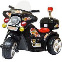 Mini Moto Elétrica Triciclo Criança Infantil Bateria 6V Importway BW006 Polícia Luz Som Bivolt -