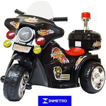 Mini Moto Elétrica Triciclo Criança Infantil Bateria 6V Importway BW006-PR Preta Polícia Bivolt -