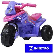Mini Moto Elétrica Triciclo Criança Infantil Bateria 6V Rosa Roxa Unicórnio Bivolt - Importway