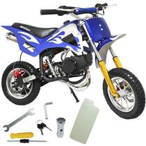 Mini Moto Infantil Gasolina 2 Tempos 49CC Cross Trilha Off Road Importway WVDB-006 Dirt Azul