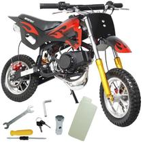 Mini Moto Infantil Gasolina 2 Tempos 49CC Cross Trilha Off Road Importway WVDB-006 Dirt Preta