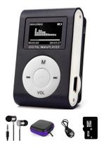 Mini Mp3 Player Tela Lcd Shuflle Clip Com Fone E Cartao de Memória 8gb - Digital Player