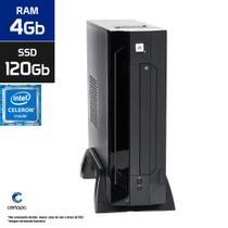 Mini PC Intel Dual Core J1800 4GB SSD 120GB Certo PC Estudo 130 ITX -