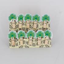Mini Prendedores Decorados Folhagem Verde- kit 10 peças - Interponte