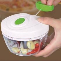 Mini Processador Triturador De Alimentos Manual Para Alho Cebola Tomate Frutas Com 3 Laminas -