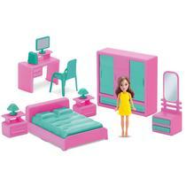 Mini Quarto Infantil 8 pçs com boneca - Judy Home - Samba Toys -
