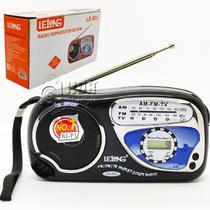 Mini Rádio AM/FM A Pilha Com Alça e Relógio Digital LE-603 - Lelong