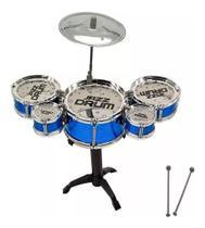 Mini Rock Star Bateria Infantil Brinquedo Prato 5 Tambores - Jazz Drum