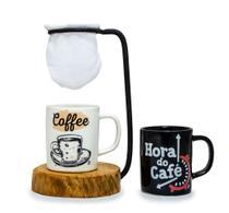 Mini Suporte Rústico p/ Coador Individual + Duas Canecas - Bars Cafés Especiais