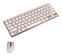 Mini Teclado e Mouse Sem Fio Branco e Dourado Ouro 2.4Ghz - B-Max -