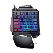 Mini Teclado Gamer Colorido Com Luz Rainbow De Uma Mão - Plugx