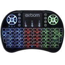 Mini Teclado Mouse Touchpad Wireless Iluminado Wifi Sem Fio Exbom BK-BTI8LED Tv Smart Usb Preto -