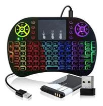 Mini Teclado Sem Fio Air Mouse Touch Tv Wireless Com Luz - Controle Rgb