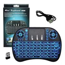 Mini Teclado Sem Fio Smart Tv Media Player Pc Video game - Backlit