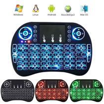 Mini Teclado Sem Fio Wireless Com Led 3 Cores Touchpad Compatível Com Consoles Smart TV  PC Notebook - Xbom