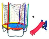 Mini Trampolim Pula Pula Infantil 1,50 M + Escorregador Medio - Império Kids