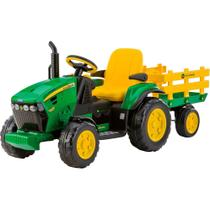 Mini Trator Elétrico Infantil Peg-Pérego John Deere Ground Force W/Trailer - EL 12V - Verde -