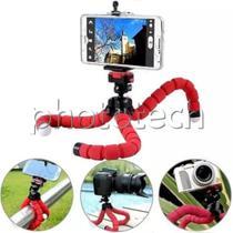 Mini tripé flexivel para celular tipo polvo com suporte (vermelho) - Yasin