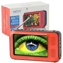 Mini Tv Digital Portátil Full HD Tela 4.3 Usb Sd Rádio Fm Isdb-t Monitor Exbom MTV-45H Bivolt -