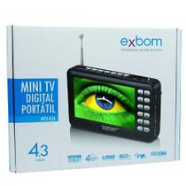 Mini Tv Digital Portátil Hd Tela 4.3 Usb Sd Rádio Fm Exbom MTV-43A