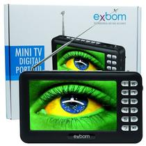 Mini Tv Portátil Digital C/ Tela 4,3 Usb Sd Fm Exbom Mtv-43a