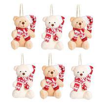 Mini Urso com Gorro e Cachecol Vermelho e Branco - 6 Un - Natal