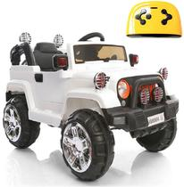 Mini Veículo Infantil Elétrico 3x1 Jipe 12v Controle Remoto Branco Glee S8-W -