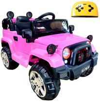 Mini Veículo Infantil Elétrico 3x1 Jipe 12v Controle Remoto Rosa Glee S8-P -