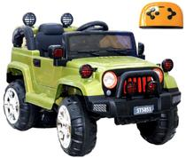 Mini Veículo Infantil Elétrico 3x1 Jipe 12v Controle Remoto Verde Glee S8-G -