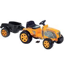 Mini Veículo Trator Fazendeiro Amarelo Com Caçamba - Biemme -