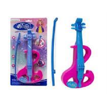 Mini violino infantil eletronico rosa 4 cordas arco com luz e som brinquedo musical crianças meninas - Gimp