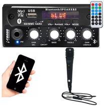 Mixer Automotivo Boog Estéreo Entrada Usb P2 P/ Microfone Propaganda + Microfone -