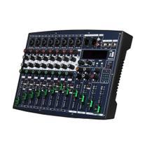 Mixer,Mesa de Som,8 canais Mono,1 Stereo,Aux,Eq,Efeito,+48V,USB,Bluetooth,Fader - Aj Som  Acessórios Musicais